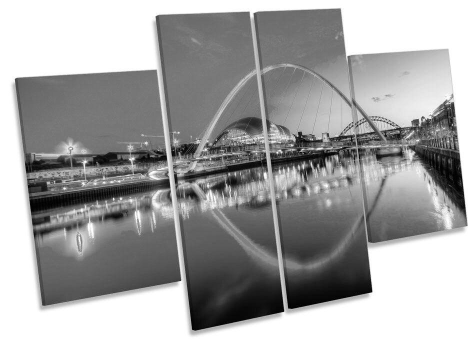 Newcastle río Tyne puentes Sunset Blanco y Negro Lona Lona Lona Pa rojo  Arte Multi Panel de impresión de la foto 377339