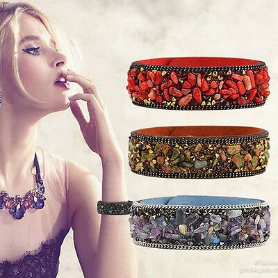 Women's Crystal Rhinestone Leather Wrap Wristband Cuff Punk Bracelet Bangle