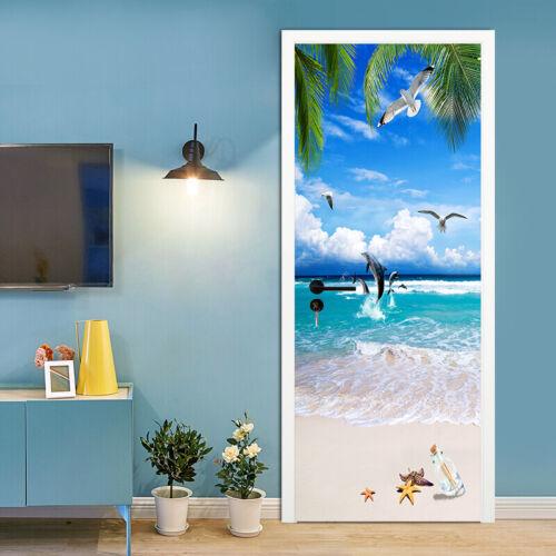 3D Summer Ocean Beach Self Adhesive Living Room Door Murals Wall Sticker Decor