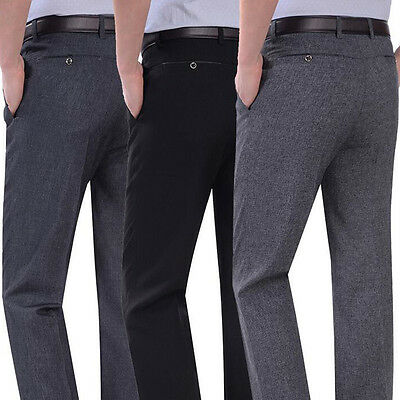 Mens Casual dress Business suit Pants Formal office Separate classic Trousers