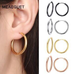 Trendy-Silver-Rose-Gold-Black-Hoop-Earrings-Loop-Xmas-Gifts-For-Her-Wife-Women