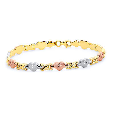 6 Wellingsale 14k Tri 3 Color Gold Polished Diamond Cut Stampato Heart Oval ID Bracelet with Lobster Claw Clasp