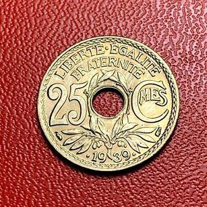 3829-RARE-25-centimes-1939-Lindauer-SPL-FDC-sortie-de-rouleau-FACTURE