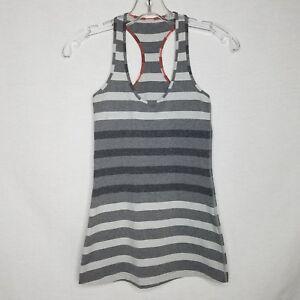 LULULEMON-Womens-Gray-Striped-Racerback-Tank-Top-Size-2-EUC-SD103P