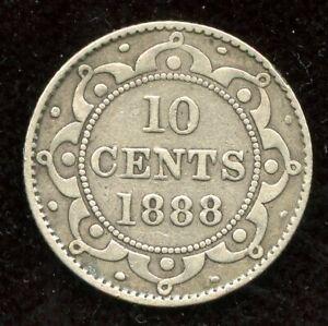 1888-Newfoundland-Silver-Ten-Cents-Fine-Condition