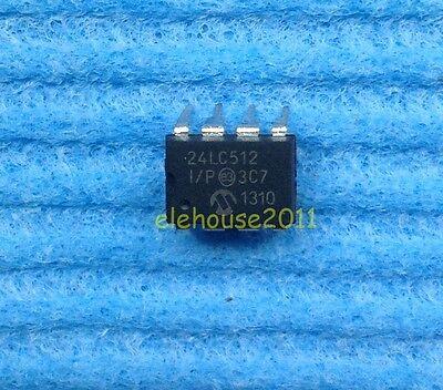 5pcs MICROCHIP 24LC512 24LC512-I/P EEPROM DIP-8 IC NEW