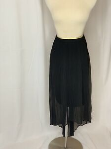 Women-s-Simply-Vera-Wang-Black-Overlay-High-Low-Hem-Skirt-Size-Medium