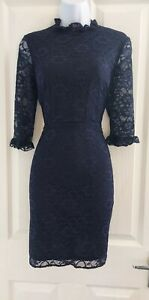 Womens-Asos-Dress-size-10-navy-blue-lacey-fit-amp-flare-party-smart-work-floral-vgc