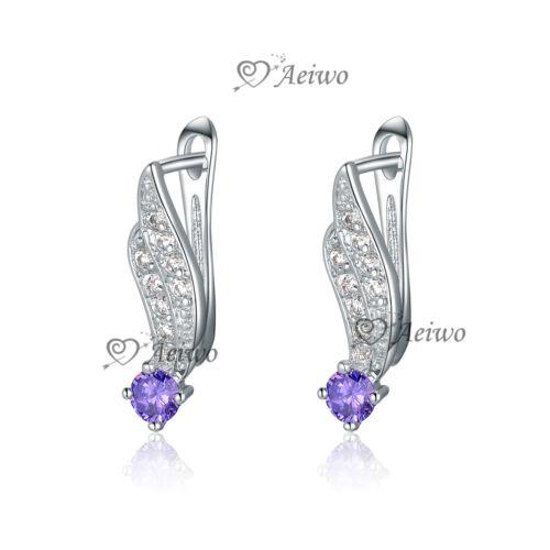 18K White GOLD Filled 8MM Classic SWAROVSKI Crystal Lab Diamond Stud Earrings