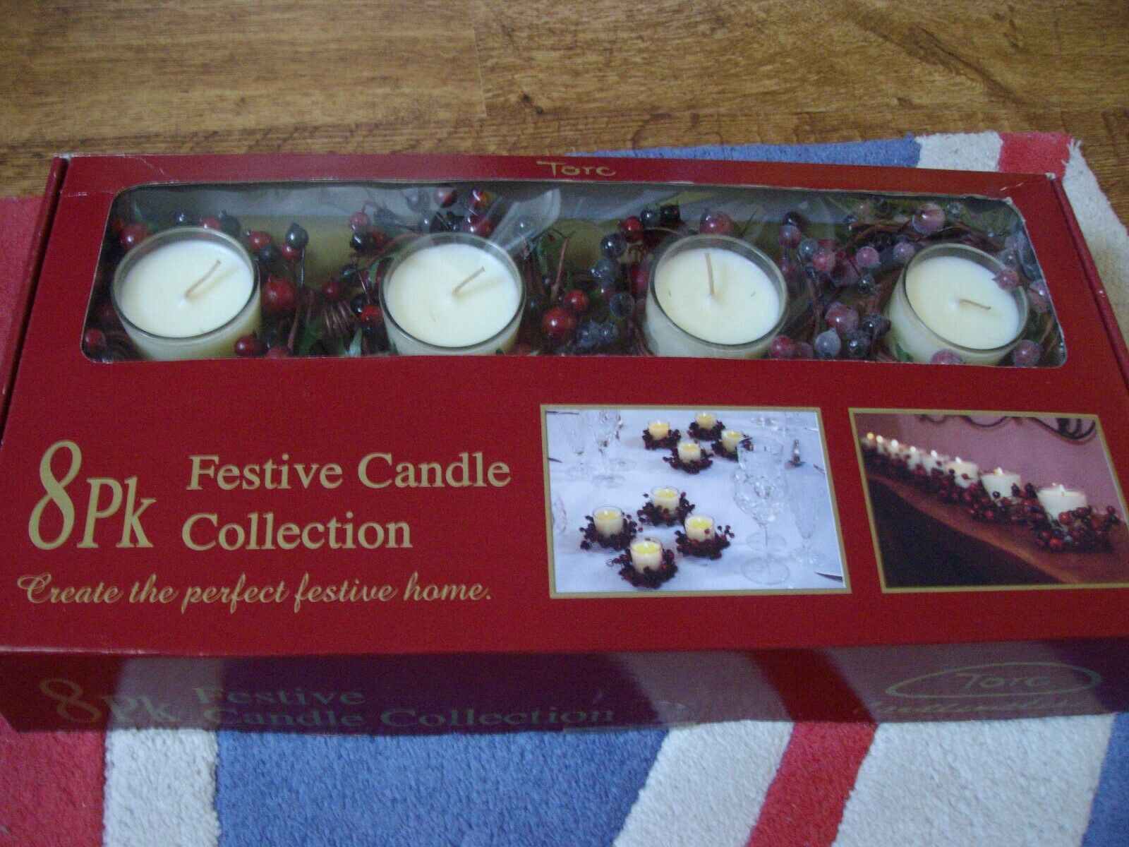Torc Candlemakers 8 Pack Festive Christmas Candles & Berry Wreaths New Boxed