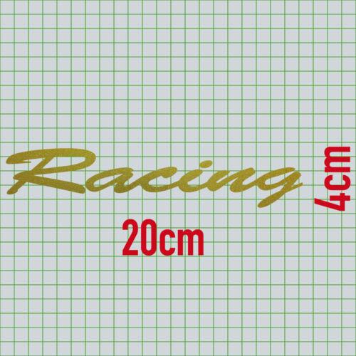 2 Aufkleber Schriftzug Racing 20cm gold Tattoo Deko Folie Auto Tür Heck Klappe
