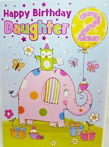 Image Is Loading DAUGHTER 2nd BIRTHDAY CARD AGE 2 BRIGHT FUN