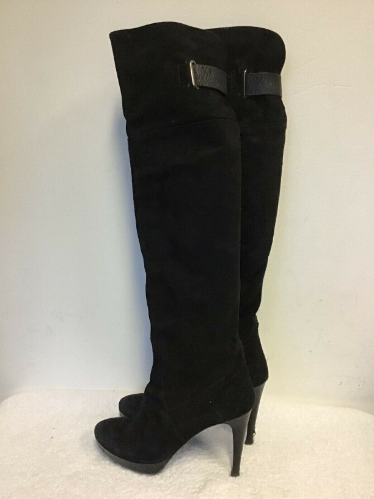 PIED A TERRE negro SUEDE OVER KNEE HIGH HEELED botas Talla 7 40