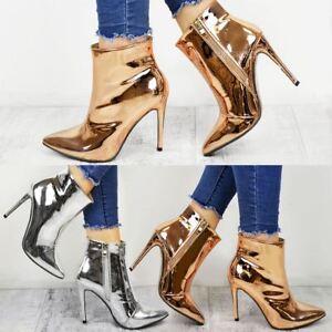 88402422125 Womens Ladies Metallic Ankle Boots Block High Heel Pointed Toe Rose ...