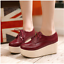 Women-039-s-Lace-Up-Oxfords-Muffins-Casual-Wedge-Heel-Thick-Platform-Round-Toe-Shoes thumbnail 4