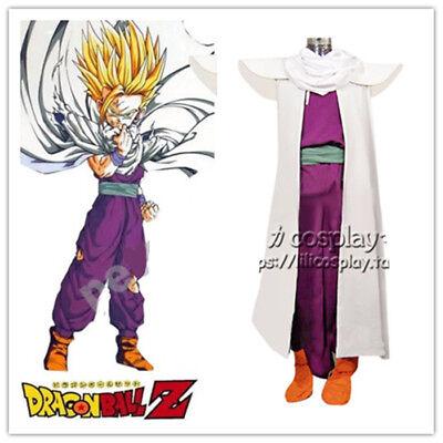 Dragonball Z Son Gohan Super Saiyan Fighting Uniform Cosplay Costume!axb
