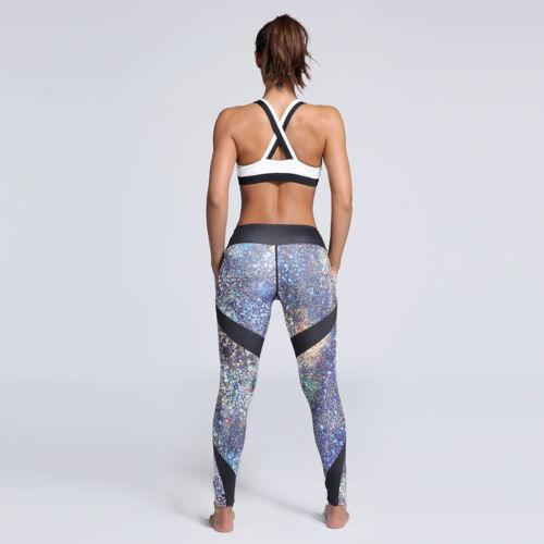 Femme Yoga Gym Leggings à motifs Taille Haute Compression Pantalon longueur cheville