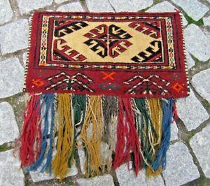 Fabulous Antique Collector's Item Tribal Wall Decor Yomud Spoon Bag Torba Rug