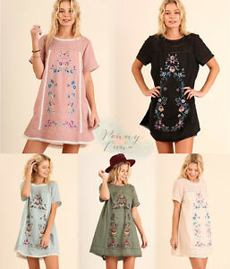 UMGEE-Floral-Embroidered-Boho-Dress-Lace-Trim-Peasant-Tunic-Top-Olive-Rose-Black