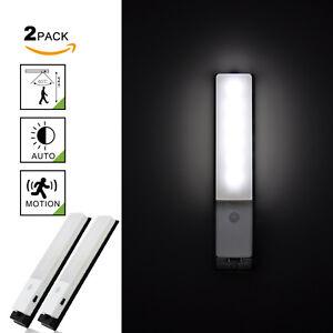 rechargeable lampe veilleuse led avec d tecteur de mouvement sans fil lot de 2 ebay. Black Bedroom Furniture Sets. Home Design Ideas