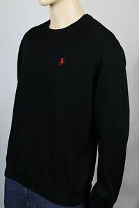 Polo Ralph Lauren Black Cotton Crewneck Sweatshirt Red Pony NWT
