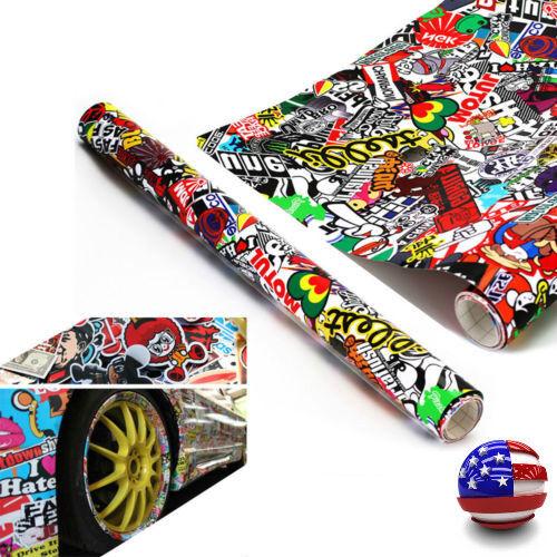 "60""x20"" JDM PANDA CARTOON GRAFFITI CAR STICKER BOMB WRAP SHEET DECAL VINYL AU"