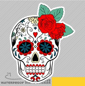 White and Red Skull Mohawk Bone Vinyl Sticker Decal Window Car Van Bike 2856