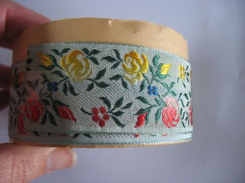 10 YARDS VTG L GREEN JACQUARD RIBBON TRIM w ROSES FRENCH ANTIQUE DRESS HAT