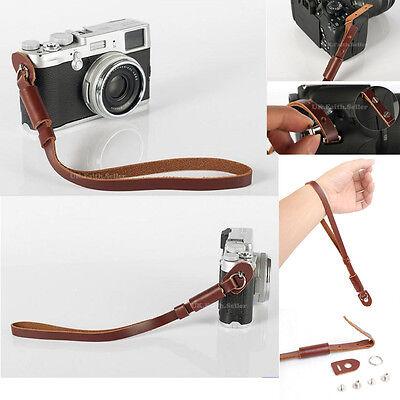 Brown Genuine Leather Camera Hand Wrist strap For Fuji Pentax Samsung Sony GE