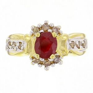 14k-Yellow-Gold-Oval-Ruby-amp-Champagne-Diamond-Cluster-Ring-Size-6-5