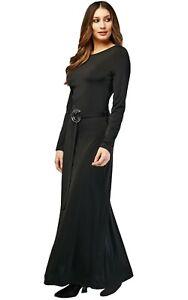 10-12-Long-Sleeved-Black-Mermaid-Wide-Belt-Gothic-Mortica-70-039-s-Maxi-Flared-Dress