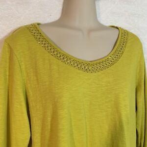 Coldwater-Creek-Top-Women-039-s-Medium-10-12-Yellow-Green-Decorative-Neckline-B8