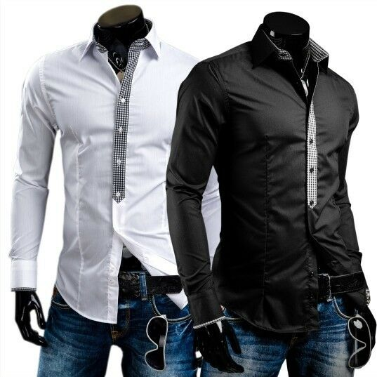 BOLF 0939 Herren Hemd Langarm Casual Business Men Slim Fit Shirt 2B2 Krawatte