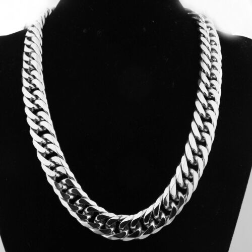 HEAVY Silver Cut Curb Cuban Link Chain 316L Stainless Steel Men/'s Necklace Hot