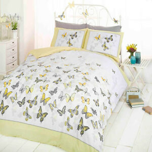 King Size Lit Papillon Flutter Gris Jaune Couette Literie Set Ebay