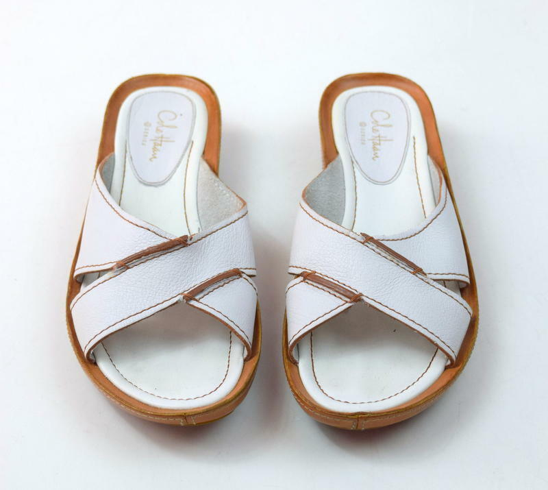 COLE HAAN G Series White Leather Mule Slip On Slide Sandals Flats Womens 6.5 B