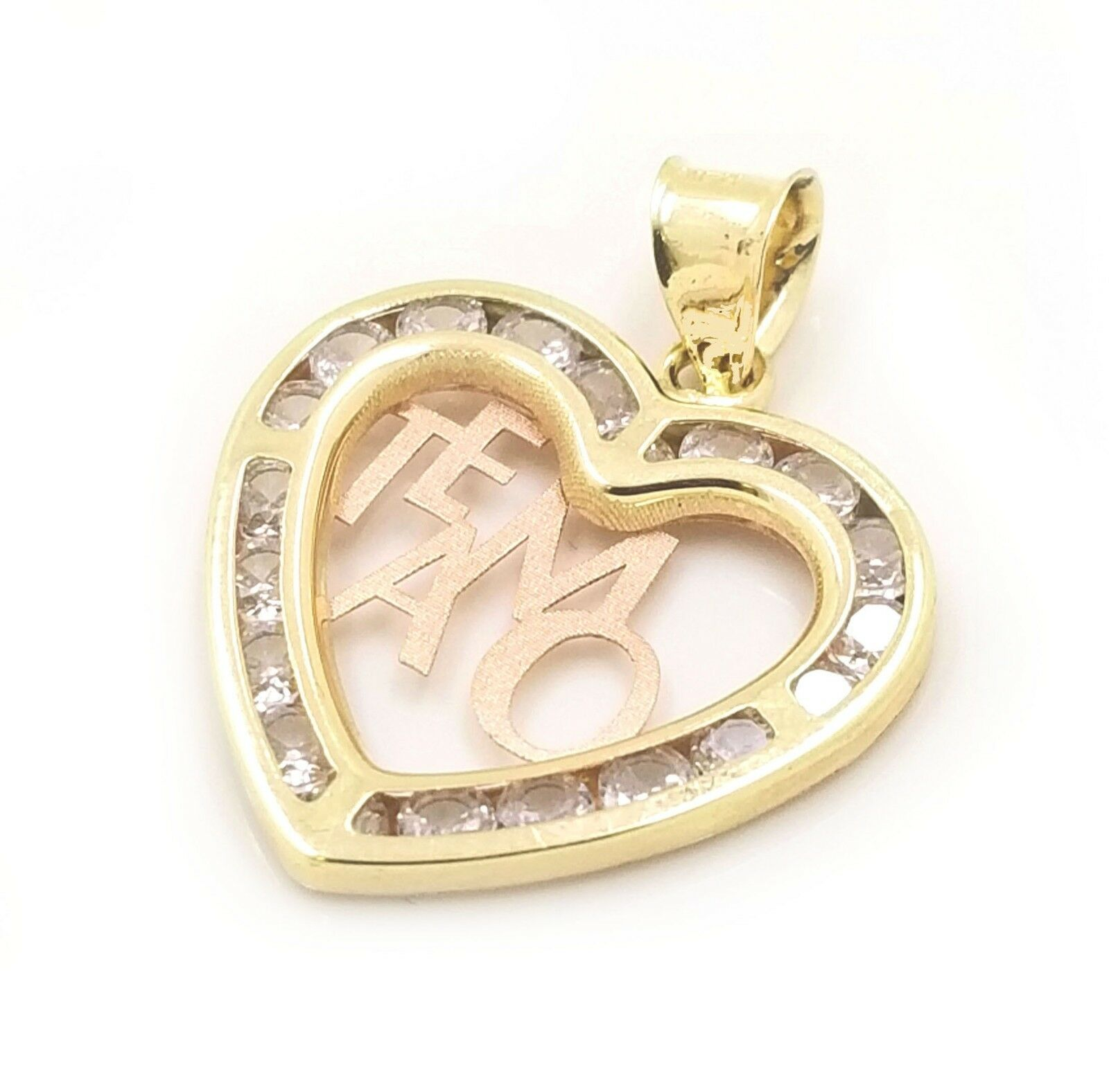 Real 10k Yellow gold Singapore Chain & 10k Tricolor gold Heart-TE AMO Charm