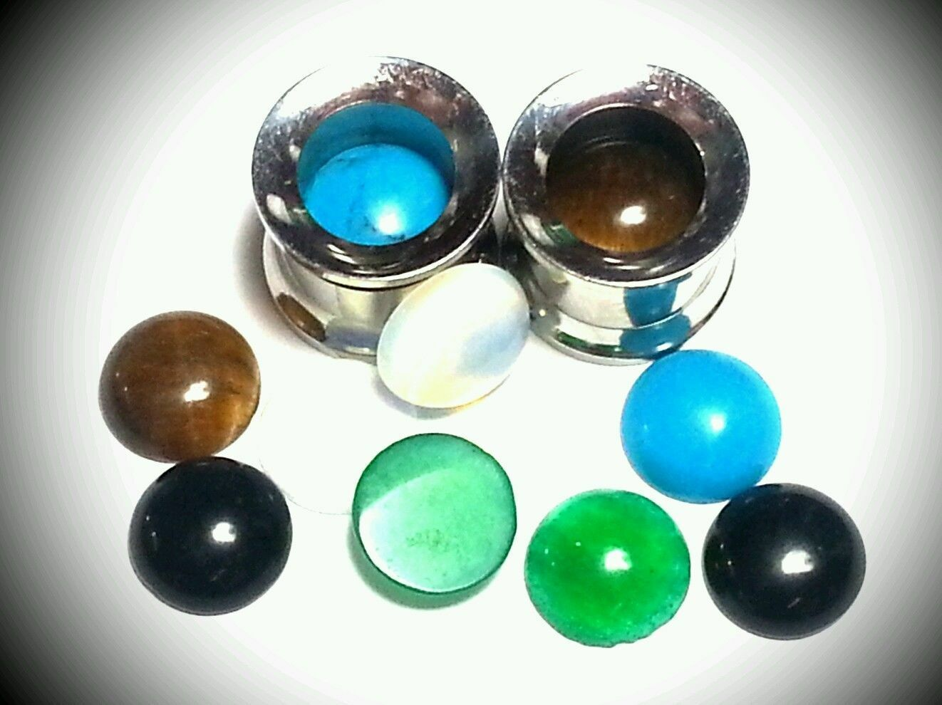 Ear Gauges Plugs Pair Saddle Double Flair Turquoise Jade Tigers Eye Onyx Opalite
