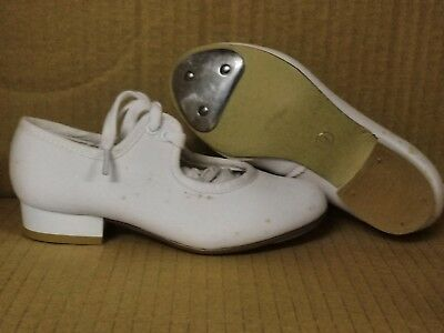Girls Ladies White PU Low Heel Tap Dance Shoes All Sizes By Katz SLIGHT SECONDS