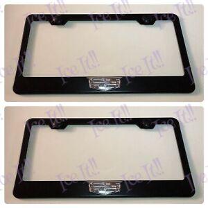2X-3D-Cadillac-Logo-Escalade-XT4-XT5-Black-Stainless-Steel-License-Plate-Frame