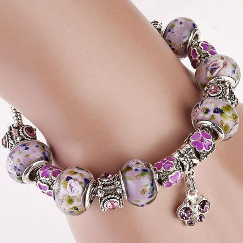 Bracelet for Woman Glazed Glass Beads Charms Silver Chains Girls Fashion Jewelry