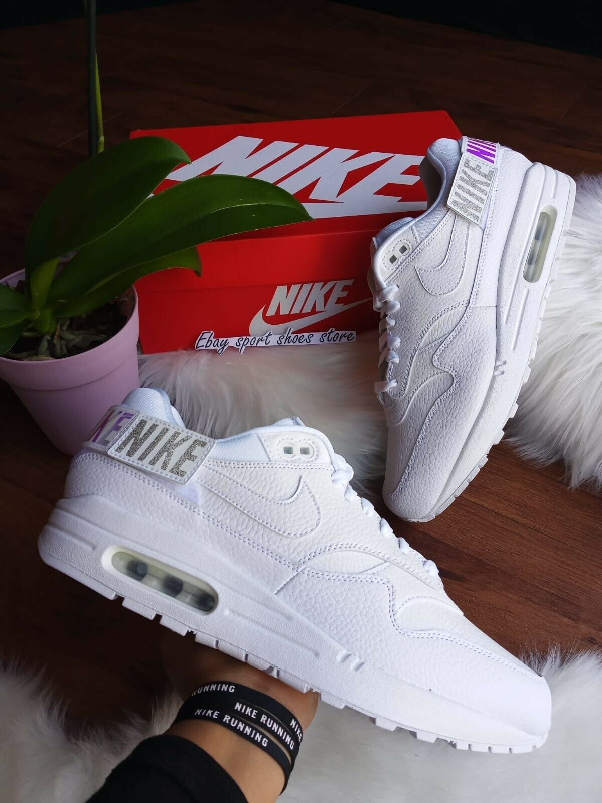SIZE 10 WOMEN'S NIKE AIR MAX 1-100 ALL WHITE AQ7826 100  RUNNING 90 95 270
