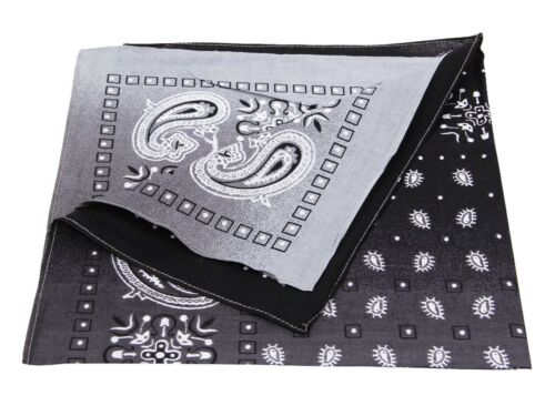 BANDANA Zandana Testa-Panno Biker 54x54cm 100/% Cotton Cotone Motivo Nero 195