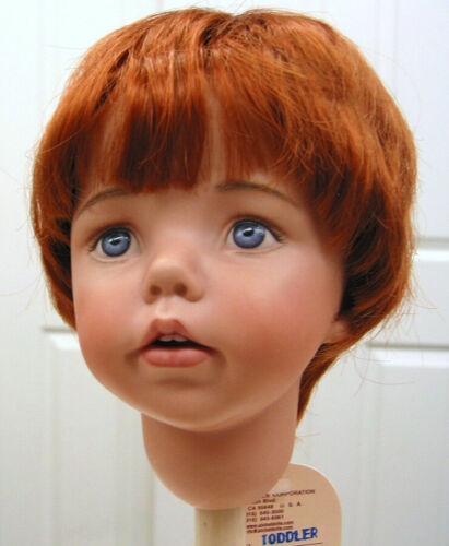 TODDLER DOLL WIG Carrot Red size 8-9 NEW short straight for all types of DOLLS