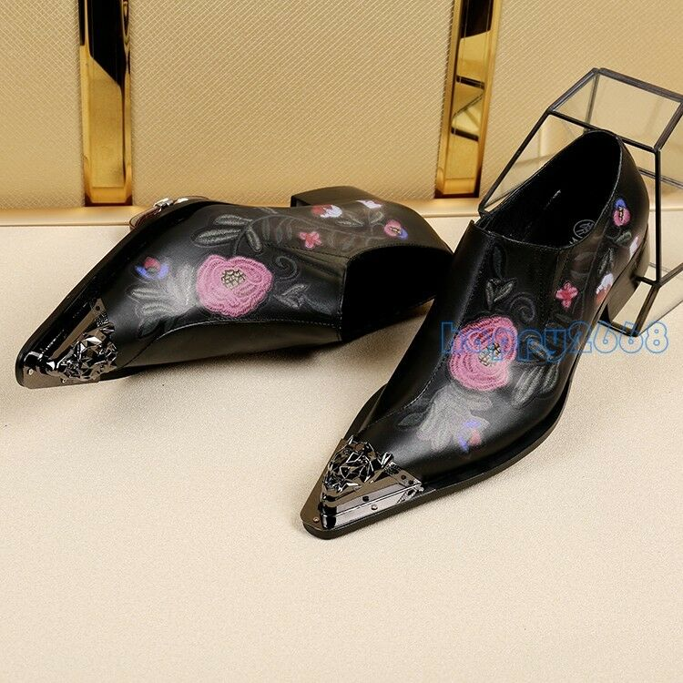 New Men Embroidery Slip On Loafers Leather Formal Wedding Floral Dress shoes ee