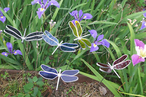 Stained Glass Dragonfly Yard Art Garden Stake Made In America