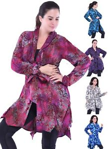 Size M Button Jacket One Hippie Down Xl Boho L Tie Batik Bluse Bælte 1x q8x8w5Or