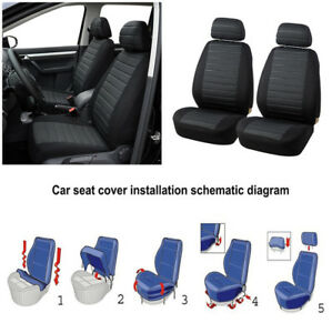 Brilliant Details About Soft Comfort 5Mm Foam Car Suv Front Row Seat Covers W Headrest Cover Black Grey Bralicious Painted Fabric Chair Ideas Braliciousco
