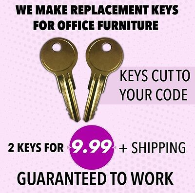Replacement Keys for HON File Cabinets Cut from 151E to 200E Two ILCO Keys Cut to Lock Number Office Max Office Depot Home Depot Allsteel 199E