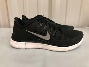 Details about Women's Nike Free 5.0+ Black Metallic Silver Dark Grey White 580591 002